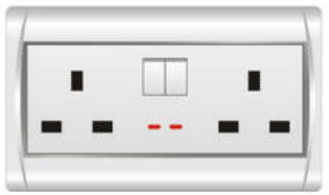 Double 13A British Wall Swith Socket With Light