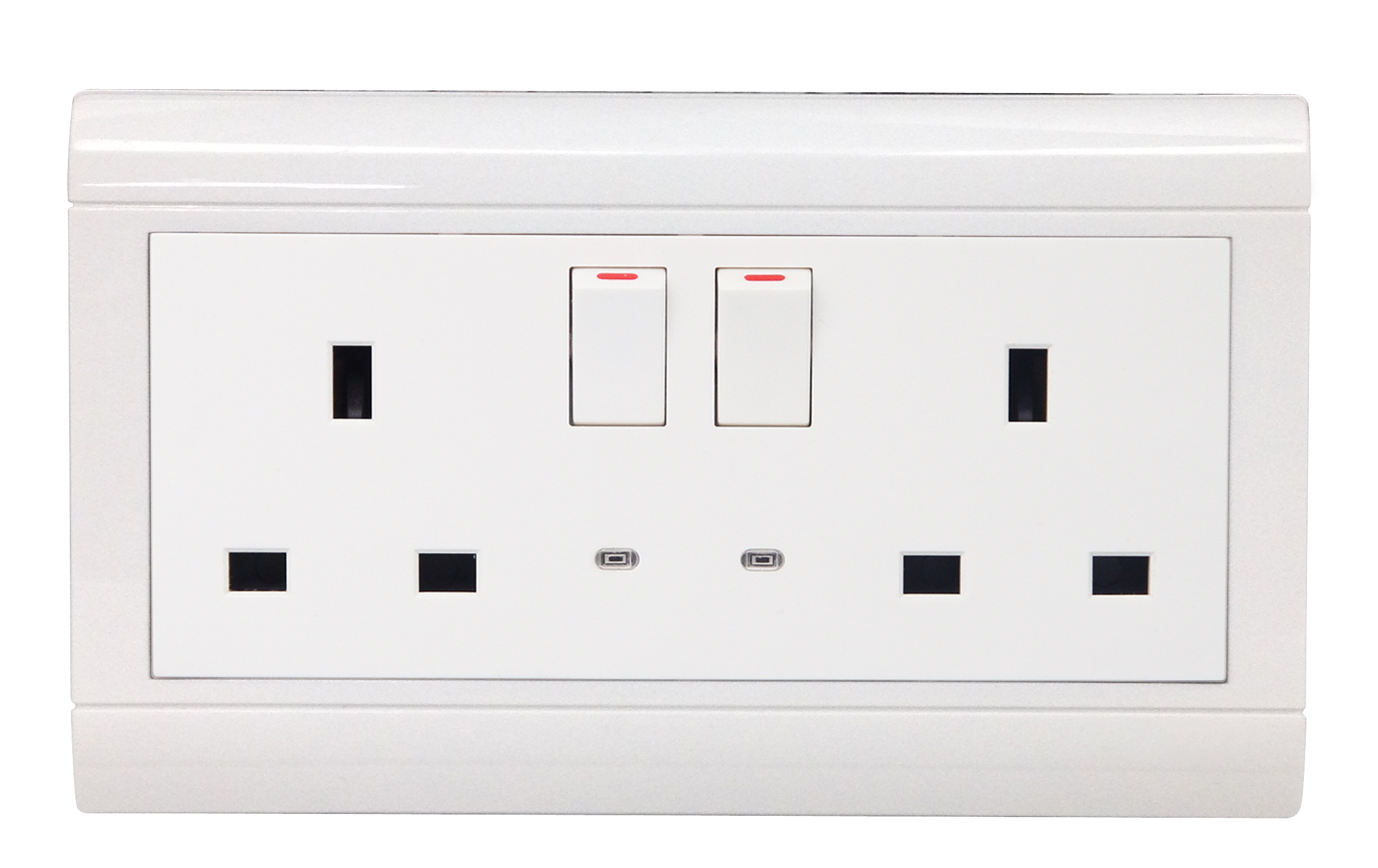 Double switch socket with light
