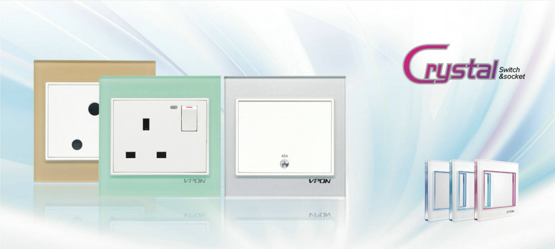 Crystal series wallswitch and socket