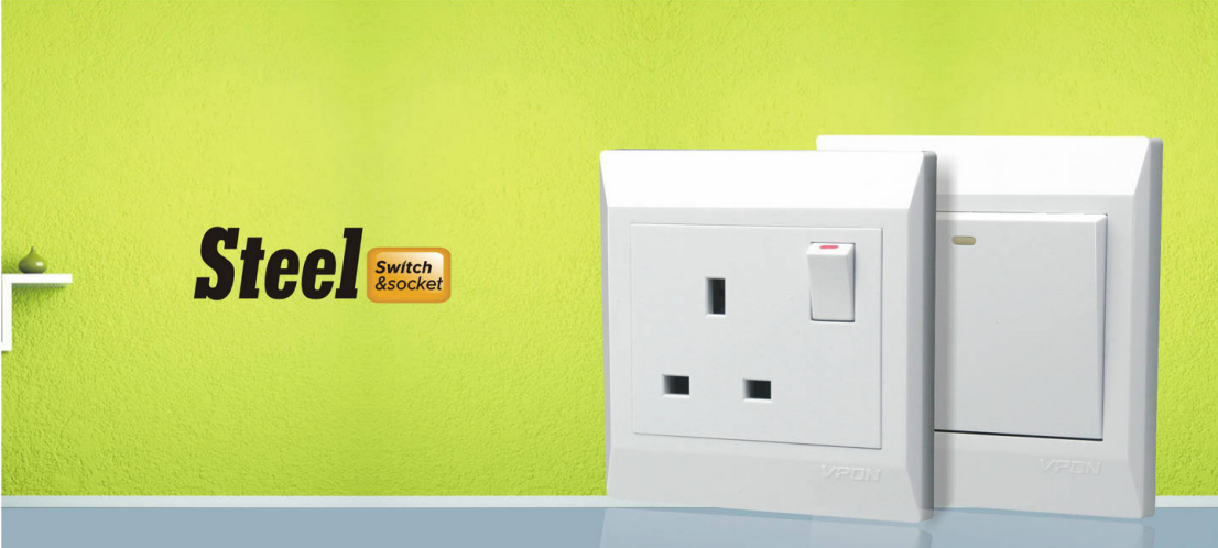 Steel series wallswitch and socket