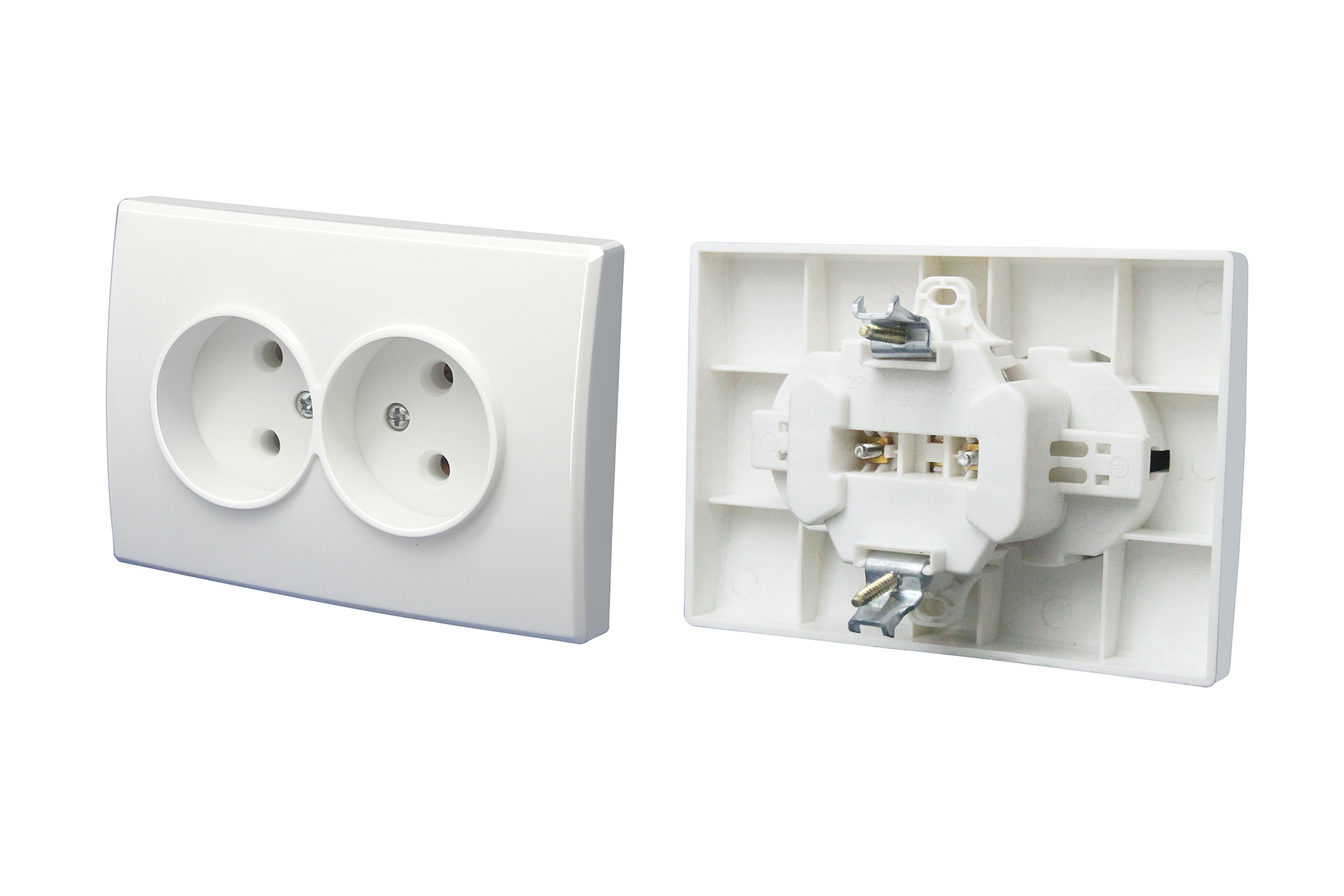 Double Socket Outlet Without Earth